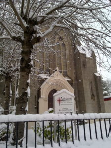 Airdrie Baptist in snow